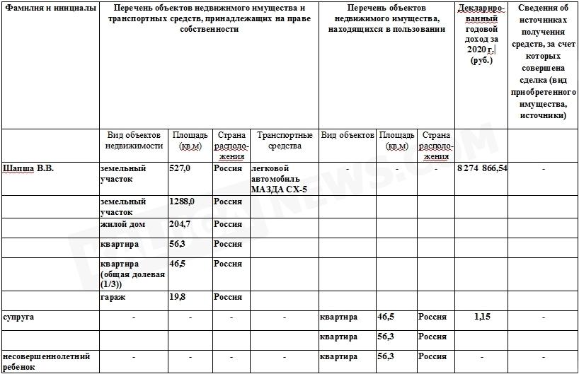 Шапша отчитался о доходах: 8 274 866 рублей за год